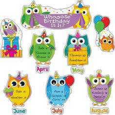 Let Everyone Know 'Whooose' Birthday It Is Owl Theme Classroom, Classroom Birthday, Birthday Wall, Birthday Board, Classroom Bulletin Boards, Preschool Classroom, Math Boards, Birthday List, Future Classroom