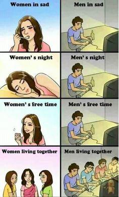 Nice men vs women in a nutshell men vs women, girl memes, funny comics, gam Stupid Funny, Funny Jokes, Hilarious, Funny Men, Bd Comics, Funny Comics, Boys Vs Girls, Men Vs Women, Man Vs