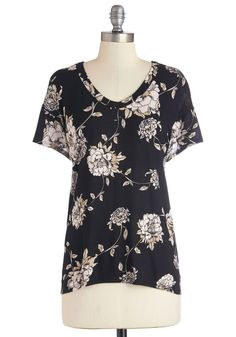 Serene Sketches Top. Equipped with a pencil and paper, you sketch lovely images of flower-adorned landscapes - drawings inspired by the neutral-toned blooms gracing your black top. #black #modcloth
