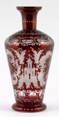 Mouse over image to zoom Goldberg Egermann Ruby Cut To Clear Decanter Vintage Glass 1930s Bohemian