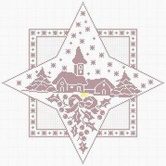 Filet Crochet Charts, Knitting Charts, Xmas Cross Stitch, Cross Stitch Embroidery, Christmas Cross, Diy Christmas Ornaments, Cross Stitch Designs, Cross Stitch Patterns, Holiday Crochet