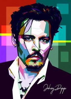 "Beautiful ""Johnny Depp"" metal poster created by Sobri Alkavie. Vector Character, Character Design Cartoon, Print Artist, Artist Art, Pop Art Artists, Pop Art Posters, Poster Prints, Portraits Pop Art, Don Corleone"