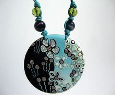 "Polymer clay Pendant,Fresh,fun & floral ""Carolina"" collection - Etsy seller Stephshandmadebeads"
