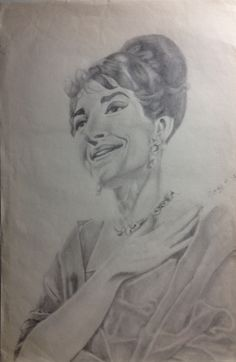 Maria Callas portrait drawing