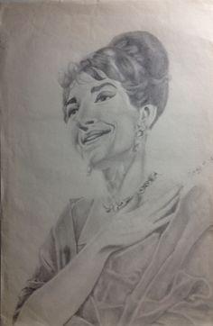 Maria Callas portrait drawing