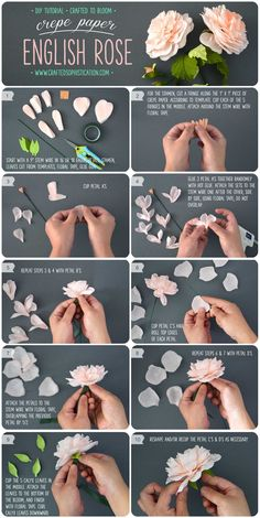 DIY Crepe Paper English Rose Tutorial from Crafted To Bloom #crepepaperrevival #paperflowers