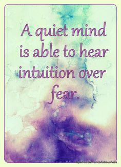 A quiet mind is able to hear intuition......
