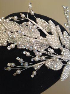 Vintage 1990's Bridal Headpiece/White Pearl leaves/clear rhinestone montees/Wedding  #icusuezq on #Etsy  #hairaccessories #bride #Wedding #headpiece  #hairaccessories #bride #Wedding #vintageheadpieceBride Bridal Headpiece/NOS New Old Stock by icusuezq on Etsy