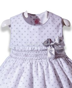 White with gray polka dots dress embroidery o'clock Smock
