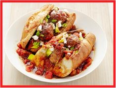 Mexican Meatball Subs Recipe : Food Network Kitchen : Food Network - Tortilla chip-topped subs? The crunch really works with this Mexican-inspired sandwich. Meatball Sub Recipe, Meatball Subs, Meatball Recipes, Beef Recipes, Mexican Food Recipes, Cooking Recipes, Ethnic Recipes, Recipies, Meatball Sandwiches