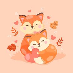 Cute Animal Illustration, Diy Art, Cuddling, Vector Free, Pikachu, Valentines Day, Cute Animals, Couples, Drawings
