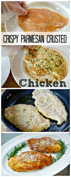 Crispy Parmesan Crusted Chicken.