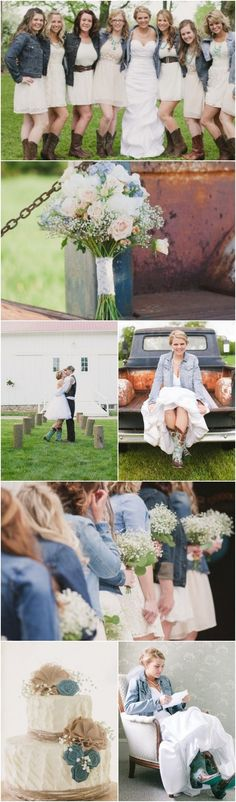 The Jean jackets look are such a good idea for the bridesmaids! But maybe different color dresses #countryweddingdresses