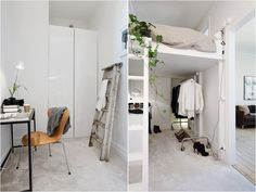 I want to switch this - bed down - closet up!