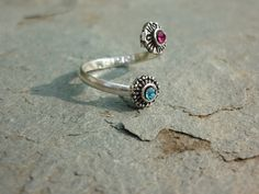 Two Tone Tribal Indian Silver Toe Ring With by AllThingsEthnic,