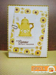 Stamped the coffee pot (from Coffee Set stamp set) in GKD Sweetcorn Ink and then used a brown colouring pencil to create a few shadows and change the colour of… Do It Yourself Projects, Projects To Try, Distress Ink Techniques, Coffee Cards, Quick Cards, Coffee Set, Craft Items, Creative Cards, Clear Stamps