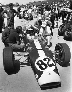 Lotus Race Car, Indianapolis 500, 1965 Jim Clark in Lotus race car at Indianapolis 500, May 1965; photo by Dave Friedman