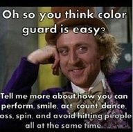 colorguard... perfect :)  This pic really says it all