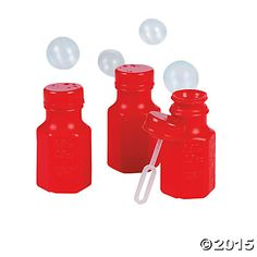 Hexagon Red Bubble Bottles - Oriental Trading