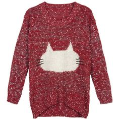 Choies Red Jacquard Pattern Fluffy Cat Jumper ($20) ❤ liked on Polyvore featuring tops, sweaters, shirts, red, print top, shirts & tops, jumper shirt, jumper top and cat print sweater