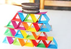 Science for Kids: how to make Paper Building Blocks - and yes, testing your structures by putting cookies on top is mandatory ;) From Babble Dabble Do -Skye