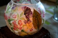 Mod-Podge and Decorative Napkin Votive Lanterns from Pink and Green Mama