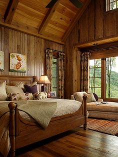 : Chic Traditional Bedroom Wooden Headboard Mountain Air Family Lodge