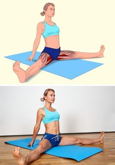 İlgili kaslar: İç bacak kasları ve hamstrings (arka bacak kası). Yere oturu… Related muscles: inner leg muscles and hamstrings (hind limb muscle). Sit down, spread your legs and stretch. Do not bend your knees. Hold your arms as shown and lean forward. Fitness Workouts, Yoga Fitness, At Home Workouts, Muscle Stretches, Stretching Exercises, Wellness Fitness, Health Fitness, Sedentary Lifestyle, Fitness Style