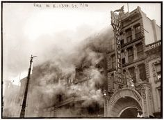 June 29, 1916, fire at the Fox Playhouse between East 13th and 14th Streets.