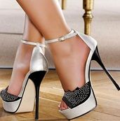Gorgeous Silver & Black Contrast Colour Coppy Leather Rhinestone Ankle Strap Sandals