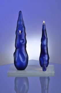 Cesare Toffolo- Stalagmiti blue flameworked glass