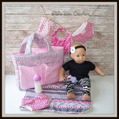 Doll Diaper bag set for Bitty Baby or other by GiGisDollCreations Baby Wipe Case, Wipes Case, Baby Storage, Extra Storage, American Girl Diy, Bitty Baby, Changing Pad, Pink Polka Dots, Toddler Fashion
