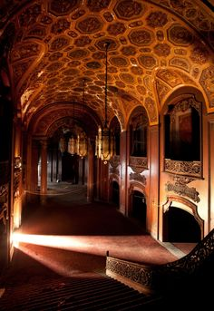 Abandoned Kings theatre, Brooklyn.  smitten with the honeycombed ceiling.