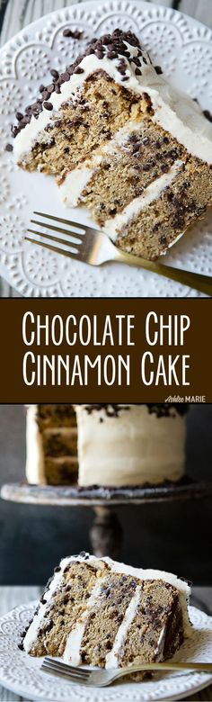 My favorite cake - Cinnamon Chocolate Chip Cake with Brown Sugar Cream Cheese Frosting.   Ashlee Marie   Winter   Cake   Holiday   Frosting   Dessert   #cakerecipes #cakeandfrosting #partycakes #bestcakes #holidaydessert