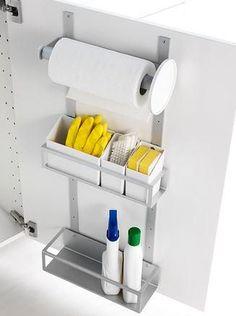 under sink cabinet storage IKEA (note: use roll holder for trash bags) Kitchen Sink Organization, Sink Organizer, Kitchen Cabinet Storage, Kitchen Doors, Storage Cabinets, Diy Kitchen, Home Organization, Kitchen Design, Kitchen Cabinets
