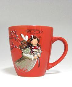 Tasse rouge : : Ange- Emma   *** Produit peint à la main. Service, Stained Glass, Coffee Mugs, Pottery, Dishes, Tableware, Painting, Design, Mugs