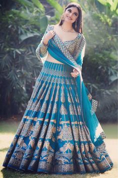 Rama Printed Attractive Party Wear Lehenga Choli with Matching Color unstiched blouse. The Lehenga can be customized up to bust size 44 , Lehenga Length 48 , Waist size 38 , and Dupatta size Mtr. Blue Lehenga, Indian Lehenga, Silk Lehenga, Bollywood Lehenga, Red Saree, Bollywood Style, Indian Bridal Outfits, Indian Designer Outfits, Choli Designs