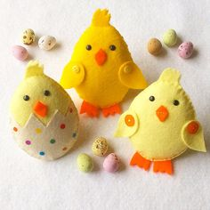 Felt Chick Ornaments PDF Sewing Pattern and por SewJuneJones