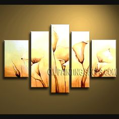 Astonishing Contemporary Wall Art Oil Painting On Canvas Panels Stretched Ready To Hang Lily Flower. This 5 panels canvas wall art is hand painted by Bo Yi Art Studio, instock - $155. To see more, visit OilPaintingShops.com