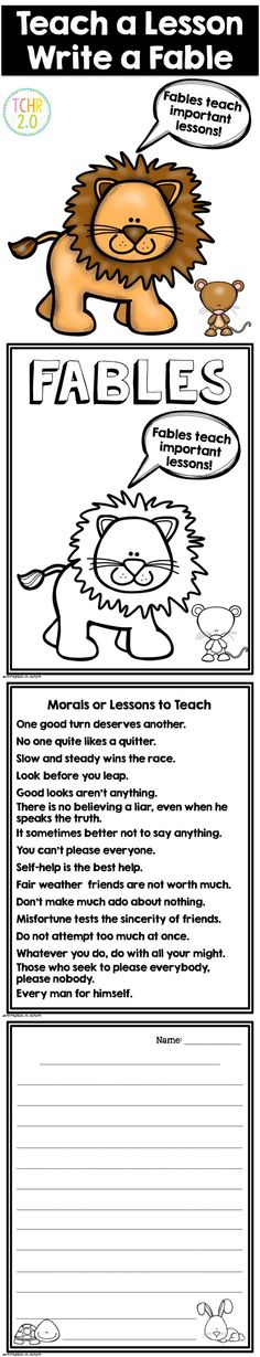 """This product is an engaging writing assignment that you can use when you are reading fables in your class. After students read a variety of fables, they must choose a moral that they would like to """"teach"""" and then write a fable."""