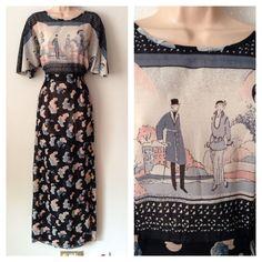 Vintage 70 s Black Beige Grey Abstract 1920 s Scene Figurines Maxi Dress 12-14   £47.52 (12B)