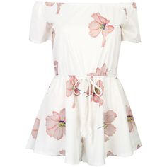 White Off Shoulder Floral Tie Waist Romper Playsuit (56.890 COP) ❤ liked on Polyvore featuring jumpsuits, rompers, dresses, playsuits, tops, off shoulder romper, off the shoulder jumpsuit, floral jumpsuit, white short rompers and white short romper