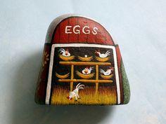 Chicken Coop #14, ooak 3D painted rock art,  Americana diorama Folk art, painted rocks by RockArtiste