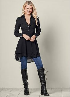 HIGH LOW BUTTON JACKET, COLOR SKINNY JEANS, LACE UP TALL BOOT