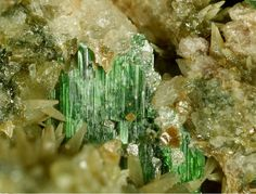 Szenicsite, Cu3MoO4(OH)4, Jardinera No. 1 Mine, Inca de Oro, Chañaral Province, Atacama Region, Chile. Group of tabular green crystals of szenicsite up to 2 mm. Copyright © Enrico Bonacina