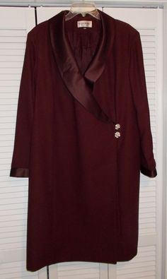 Brownstone Studio, Burgundy fully lined Coat/Sheath Dress, long sleeve, with Satin Shawl Collar and cuffs in same color, with front closure. Once worn, it is to late now for me now, lost a lot of weight, 84 lbs. | eBay!