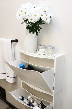 IKEA Trones shoe cabinet as bathroom storage