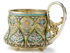A Russian Gilded Silver and Shaded Enamel Tea Glass Holder, Khlebnikov, Moscow, circa 1900 - Sotheby's Tea Cup Saucer, Tea Cups, Kitsch, Teapots And Cups, Tea Art, Glass Holders, Russian Art, Russian Beauty, Vintage Tea