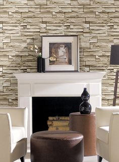 Travertine Wallpaper in Grey, Cream, and Beige design by York Wallcoverings