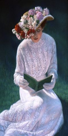 A sunlit Victorian lady in a lace dress quietly reads a book. Portrait painting by Sue Halstenberg (detail of larger painting) Original pastel painting has sold.